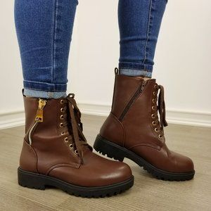 Kids Girls Two Tone Blonde Brown Faux Suede Lace Up Round Toe Ankle Boot Bootie